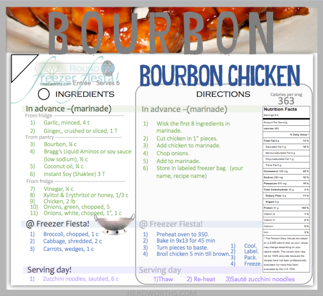 BOURBON CHICKEN freezer fiesta card
