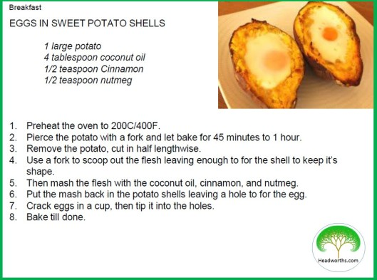 EGGS IN SWEET POTATO SHELLS