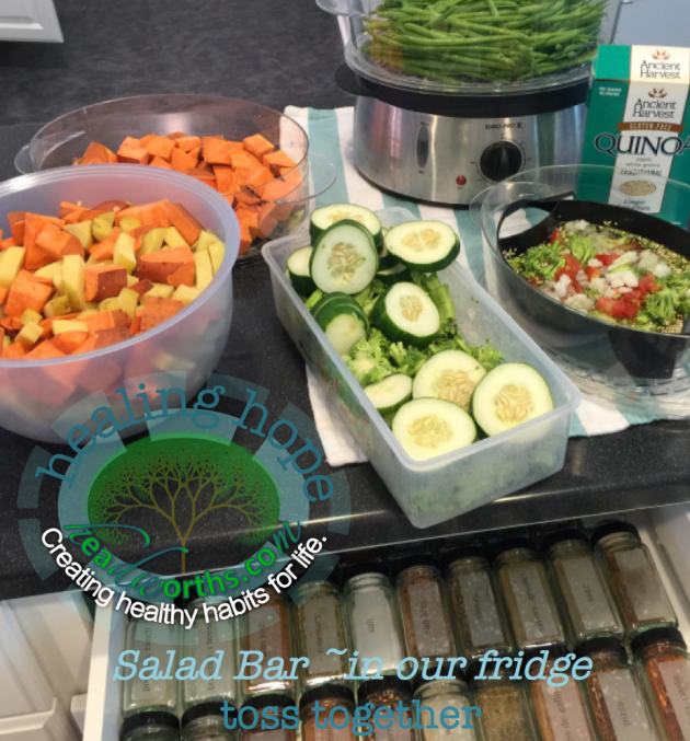 salad bar in our fridge spice and veggies