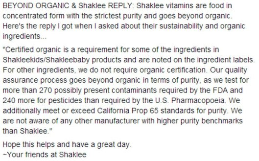 SHAKLEE IS BEYOND ORGANIC