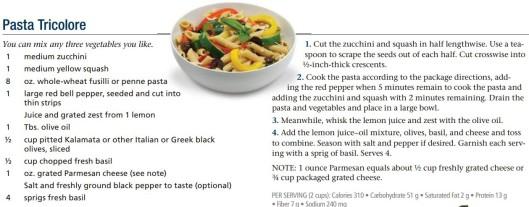 SIDE pasta tricolore recipe
