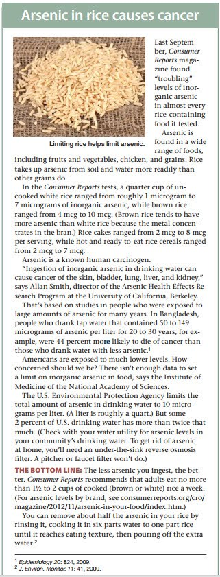 arsenic in rice reduced by washing